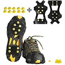 Ice Cleats, willceal Ice Grippers Traction Cleats Shoes and Boots Rubber Snow Shoe Spikes Crampons with 10 Steel Studs Cleats Prevent Outdoor Activities from Wrestling (Extra 10 Studs)
