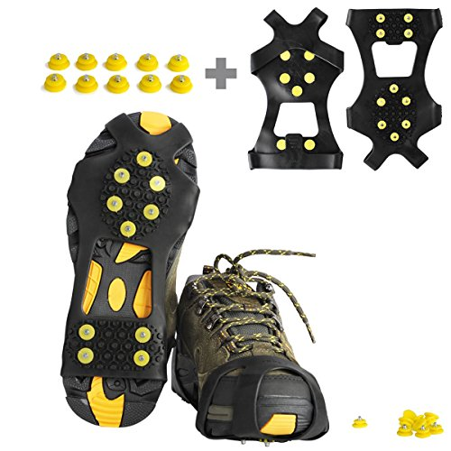 Ice Cleats, Willceal Ice Grippers Traction Cleats Shoes and Boots Rubber Snow Shoe Spikes Crampons with 10 Steel Studs Cleats Prevent Outdoor Activities from Wrestling (Extra 10 Studs)(Medium) (Studs Traction)