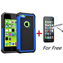 iPhone 5C Case, MCUK [Shock Absorption] [Drop Protection] Hybrid Best Impact Defender Cover Shell Plastic Outer & Rubber Silicone Inner for Apple iPhone 5C (Black+Blue)