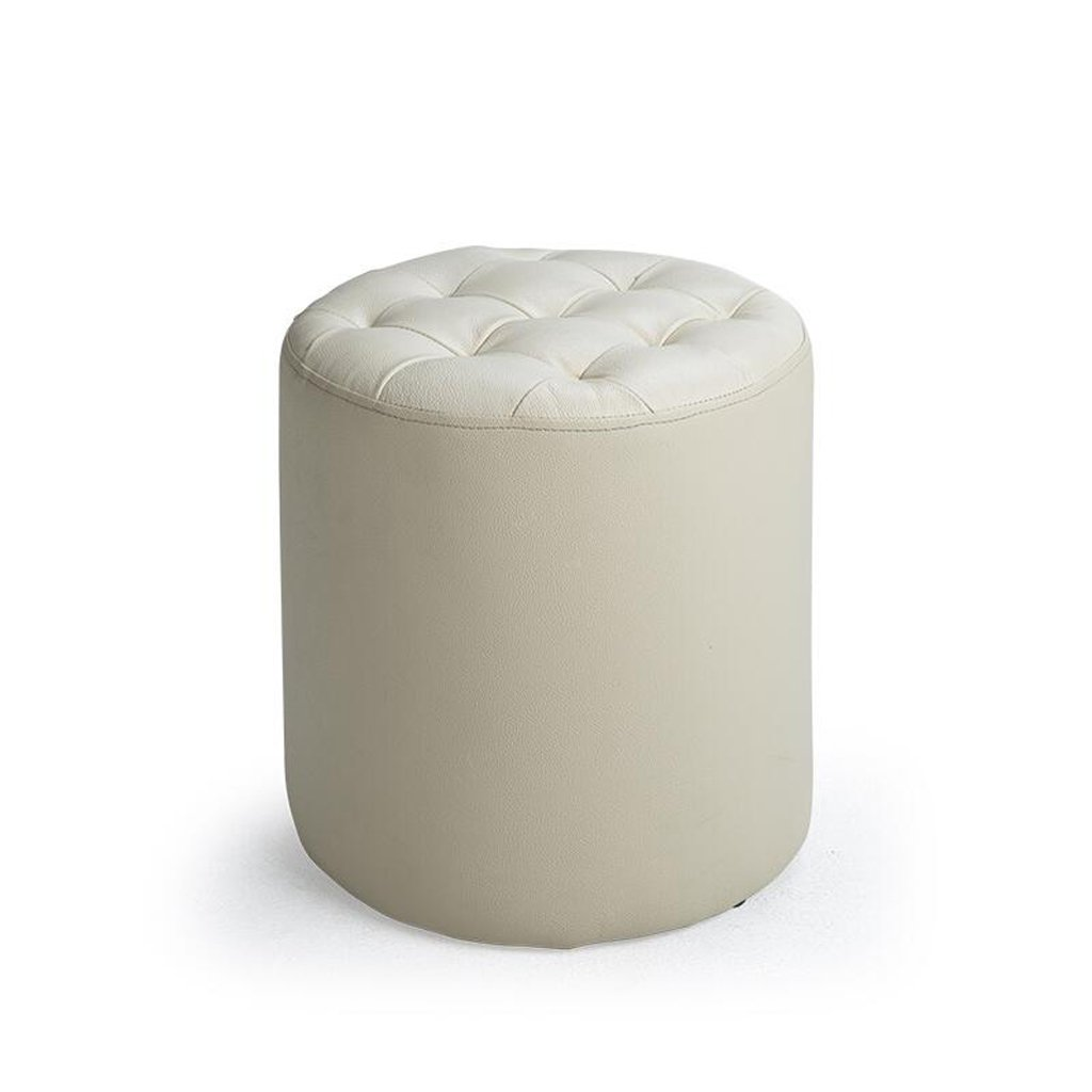 Reducción de precio Rollsnownow Milk White Round Change The Shoe Stool Taburete de sofá Taburete de la Sala Taburete de la Sala de Estar Llevando un Taburete