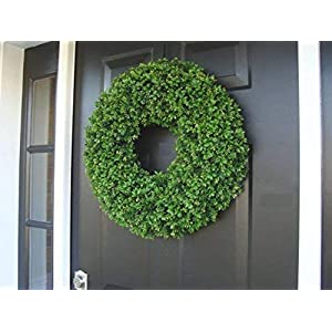 Elegant Holidays Handmade Thick Artificial Faux Boxwood Wreath, Welcome Guests with Decorative Front Door- for Outdoor or Indoor Home Wall Accent Décor, Winter- All Seasons and Holidays- 14-24 inch 106