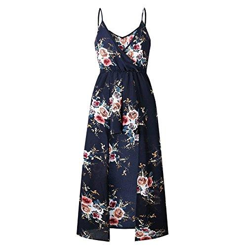 V A Pantaloni Divisa Elegante Coolred Vestito Spiaggia donne Scollo Sportivo Stampata Pattern1 Fionda Lunga XRF4wqC