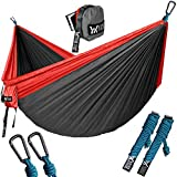 "WINNER OUTFITTERS Double Camping Hammock - Lightweight Nylon Portable Hammock, Best Parachute Double Hammock for Backpacking, Camping, Travel, Beach, Yard. 118""(L) x 78""(W) Red/Charcoal"
