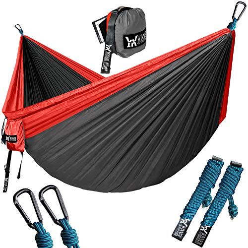"""WINNER OUTFITTERS Double Camping Hammock - Lightweight Nylon Portable Hammock, Best Parachute Double Hammock for Backpacking, Camping, Travel, Beach, Yard. 118""""(L) x 78""""(W) Red/Charcoal"""