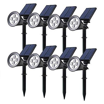 8 Pack Solar Spotlight, 2-in-1 LED Wall / Landscape Solar lights, 270° Adjustable Waterproof Outdoor Landscape Lights for Tree, Driveway, Yard, Lawn, Pathway, Garden
