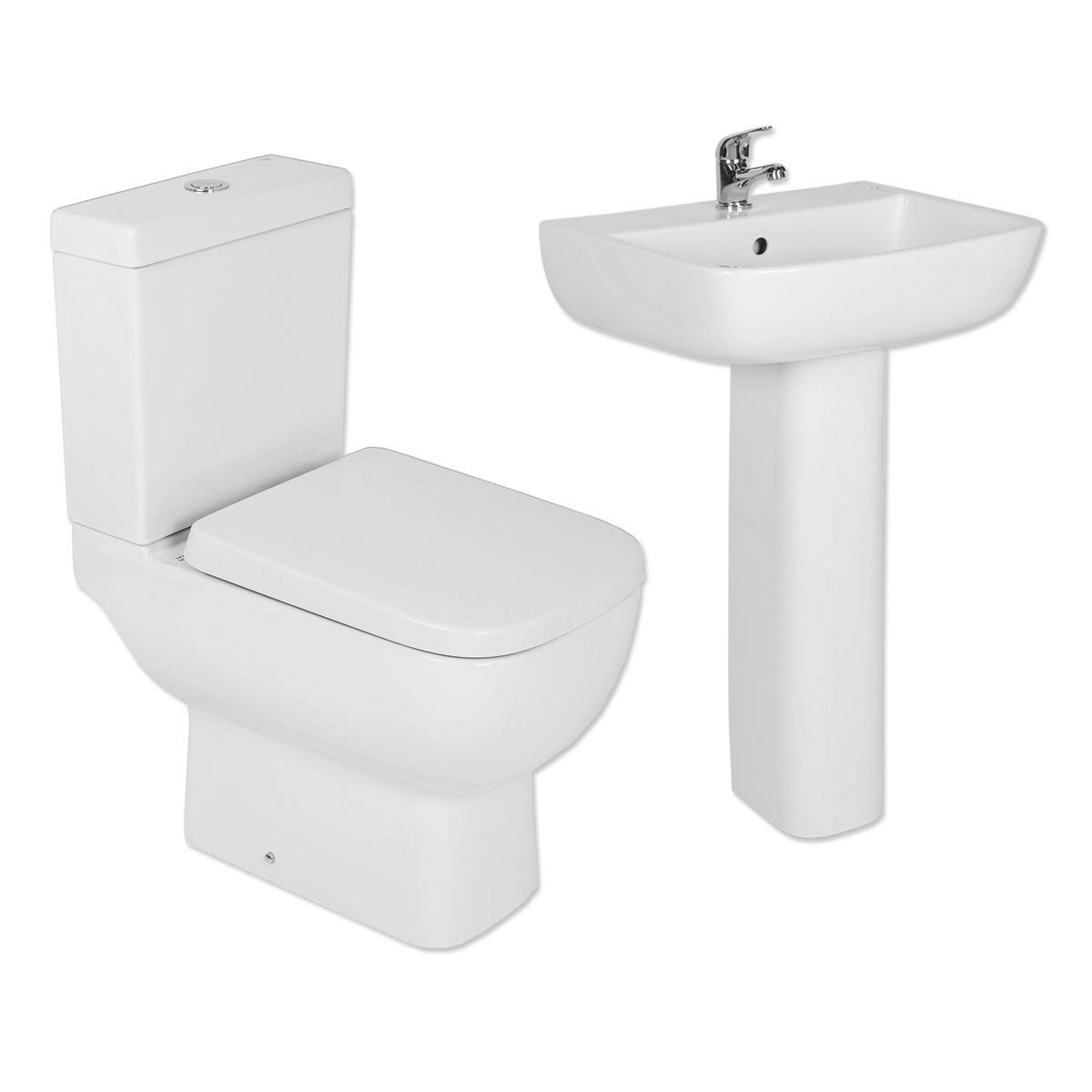 RAK Series 600 Short Projection Close Coupled Toilet with Dual Flush Cistern & Full Pedestal Basin Cloakroom Suite