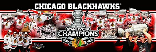 (NHL Hockey Chicago Blackhawks 2010 Stanley Cup - 12x36 Panoramic Photo. Frame Dimensions 13.5 x39 Deluxe Double Matted with Black Metal Frame #4003)
