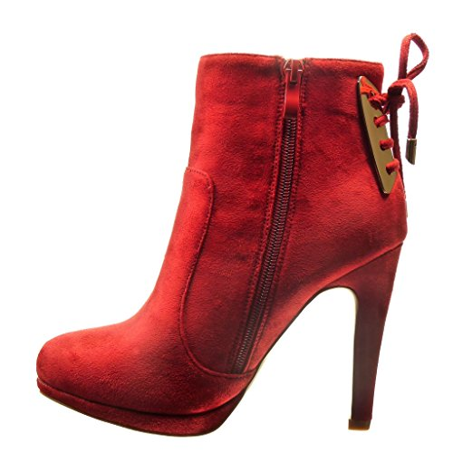 Angkorly - damen Schuhe Stiefeletten - Low boots - Sexy - Knoten - metallisch Stiletto high heel 11 CM - Rot