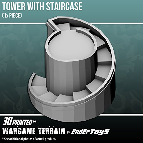Tower With Staircase, Terrain Scenery for Tabletop 28mm Miniatures Wargame, 3D Printed and Paintable, EnderToys