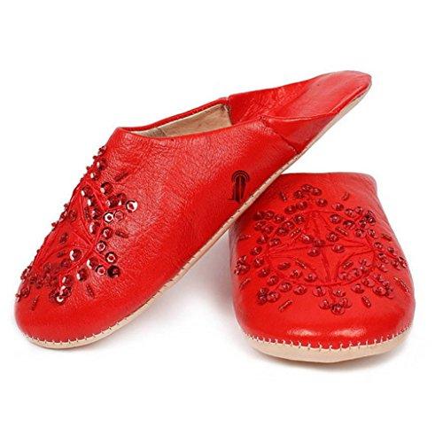 Babouche marocaine originales Paloma rouge, pantoufles alliant du confort et de l'élégance, chaussons cousus main, mocassins femme legers et confortables