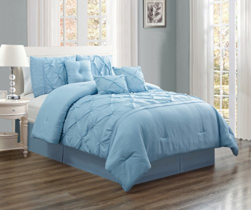 (California) CAL KING size Solid LIGHT BLUE Double-Needle Stitch Puckered Pinch Pleat Stripe Includes 1 Comforter, 3 Decorative Pillows, 1 Bed Skirt, 2 Shams (Grande 2 Light)