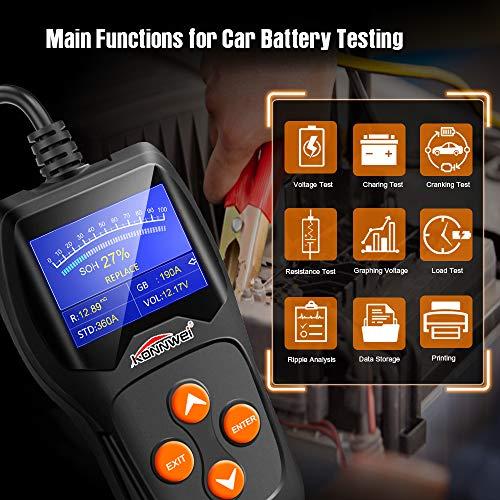 Konnwei Kw600 Car Battery Tester 12v Professional 100 2000 Cca 220ah