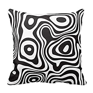 Black and White Zebra Print Stripes Animal Print Throw Pillow Case Decor Cushion Cover 18x18 Inch Square Two Sides