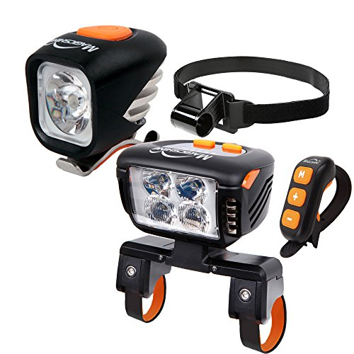 Magicshine Field Staff Choice MJ-900 Headlamp + Eagle F3 Bicycle Headlight, MTB All Mountain Bike Light Combo | Spot Beam Flood Beam Combo Beam for Mountain Biking, Trail by Magicshine