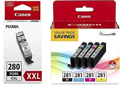 Canon CLI-281 BKCMY 4-Color Ink Tank Value Pack (2091C005) + Canon PGI-280 XXL Pigment Black Ink Tank (1967C001)