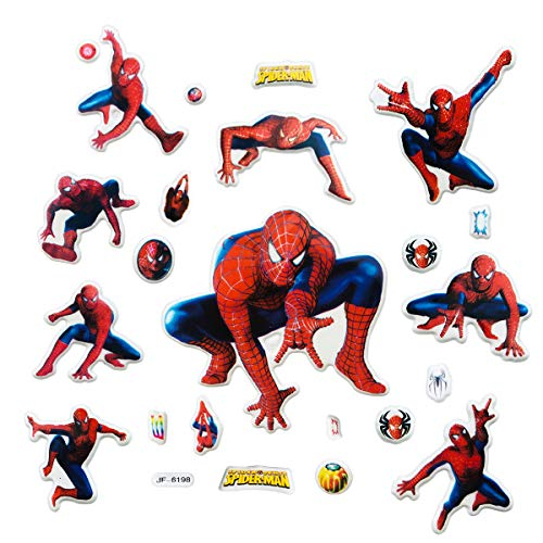 Disbch 3D Stickers for Kids & Toddlers 400+pcs Vinyl Skateboard Guitar Travel Case Sticker Door Laptop Luggage Car Bike Bicycle Stickers (Spiderman)