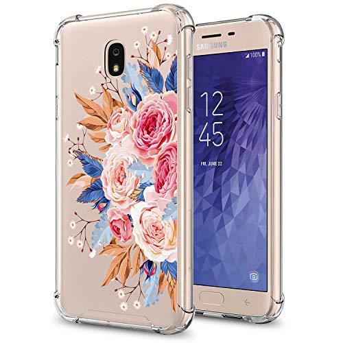 (GORGCASE J7 2018 case, J7 V 2nd Gen,Galaxy J7 Refine,Galaxy J7 Aero,J7 Star,J7 Top,J7 Crown,J7 Aura,J7 Eon, Cute Slim PC TPU Bumper Protective Cover for Girls Women for Samsung Galaxy J7 V Flower)