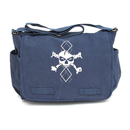Heavyweight Canvas Messenger Bag Satchel Diaper Bag, Blue with White Argyle Skull by Crazy Baby Clothing