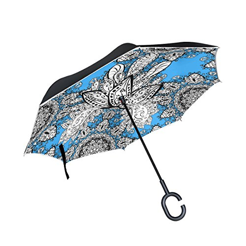 (Top Carpenter Double Layer Reverse Inverted Umbrellas Floral Baroque Style with C-Shaped Handle for Car Outdoor)