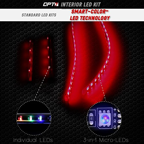 6pc Car Interior Neon Underglow Accent Light Kit: OPT7 Boat Interior Glow LED Lighting Kit