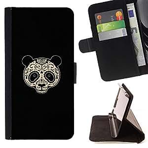 GIFT CHOICE / Billetera de cuero Estuche protector Cáscara Funda Caja de la carpeta Cubierta Caso / Wallet Case for Apple Iphone 4 / 4S // Sugar Floral Panda Bear //