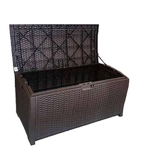 (Outdoor Wicker Storage Box Patio Furniture Large Garage Kitchen Big Deck Resin Basket Lock Bench Container & eBook by OISTRIA)