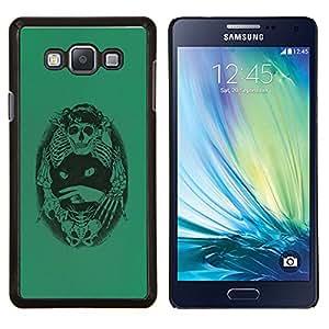 LECELL--Funda protectora / Cubierta / Piel For Samsung Galaxy A7 A7000 -- Verde del gato de muerte Huesos Esqueleto Negro --