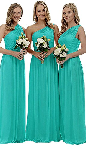 One-Shoulder Ruched Chiffon Plus Size Bridesmaid Dress Long Evening Party Gown Size 18 Turquoise