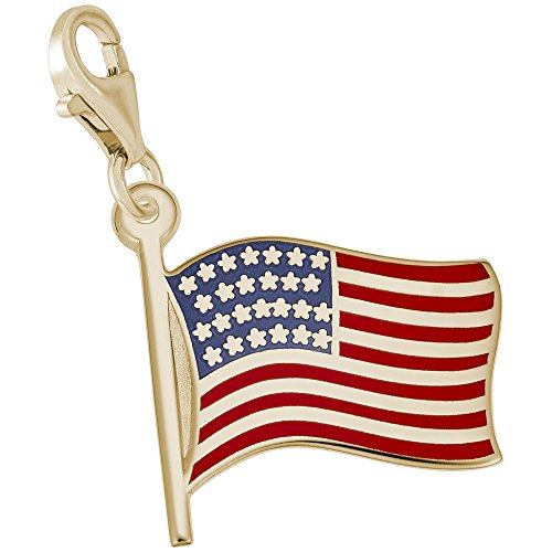 14k Yellow Gold American Flag (14k Yellow Gold Usa Flag Charm With Lobster Claw Clasp, Charms for Bracelets and Necklaces)