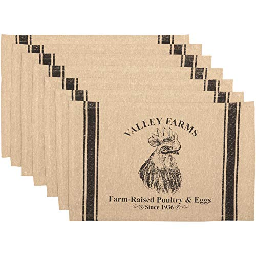 Farm Placemat - VHC Brands New Valley Farms Rooster Farmhouse Placemat (Set of 6) 12x18 ...