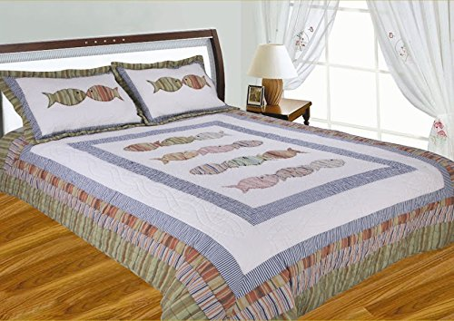 J&J Bedding Fish Pattern Handcrafted Quilt, Full/Queen