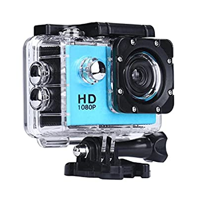 ZIYUO Full HD Sports Action Camera 2.0 inch Ultra HD TFT LCD screen Waterproof DV Recorder shooting 30 meters under water Ultra Wide Angle Lens and Portable Package BU