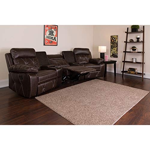 Flash Furniture Reel Comfort Series 3-Seat Reclining Brown Leather Theater Seating Unit with Curved Cup Holders from Flash Furniture