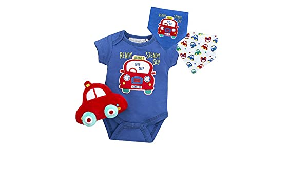 BABY TOWN Baby Boys Car Design Bodysuit with Plush Car Toy and Bib Ideal for Summer