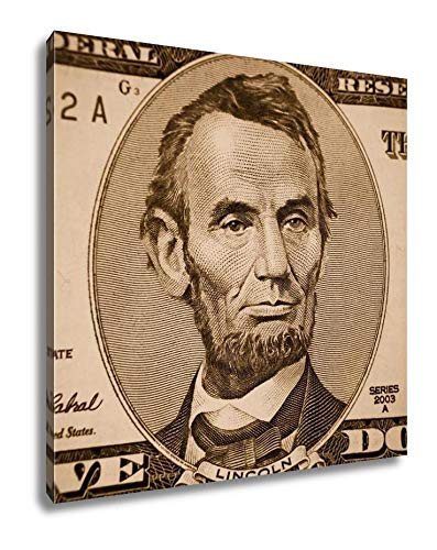 Ashley Canvas Abraham Lincoln Portrait from Five Dollars Bill, Wall Art Home Decor, Sepia, 16x16 (Abraham Lincoln On The Five Dollar Bill)