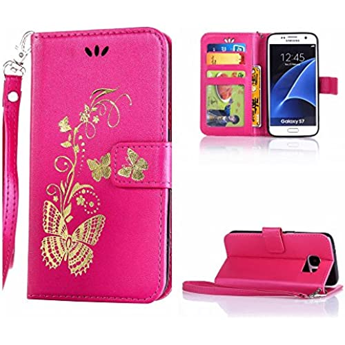 S7 case wallet,Cell Phone Case for galaxy S7,Yuncase Cover Holster Money Slot Girls Stand View Perfect Fit Samsung galaxy S7 (rose red) Sales