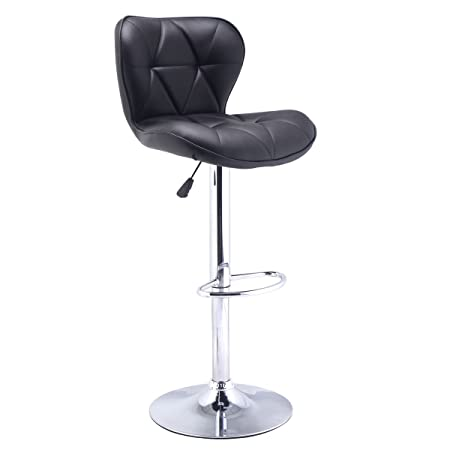 COSTWAY Modern Adjustable Synthetic Leather Swivel Bar Stools Chairs Bistro Pub Chair Black