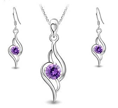ladies silver Diamond Accent Amethyst angel Tianyu Set Earring+Pendant Necklace hXrUnTnyz
