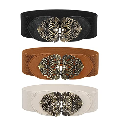 3 Pack Women Vintage Wide Waist Belt for Dress, Elastic Cinch Belt with Retro Interlocking Brass Buckle(Black+Brown+Beige,Suit for waist size 26