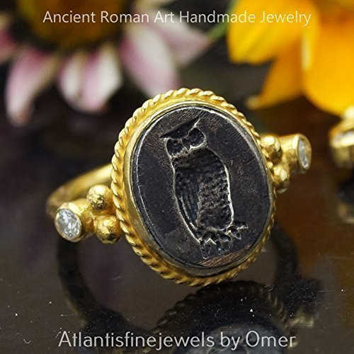 (Sterling Silver Handmade Roman Art 2 Tone Owl Coin Ring 24k Yellow Gold Vermeil Turkish Designer)