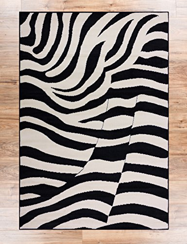 Zesty Zebra Black 5x7 ( 5' x 7' ) Casual Animal Print Thin Value Area Rug Perfect for Living Room Dining Room Family Room