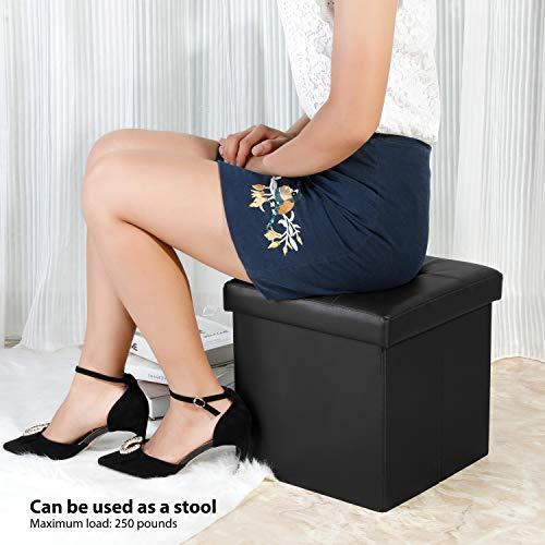 home, kitchen, furniture, accent furniture,  ottomans 10 discount B FSOBEIIALEO Folding Storage Ottoman Footrest Stool Faux deals