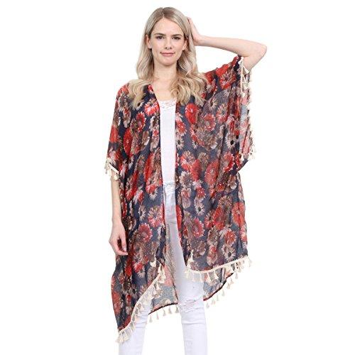 Lightweight Woven Butterfly Kimono Vest Cardigan - Beachwear Swimsuit Bikini Cover up (Floral Tassel - ()