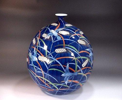 有田焼伊万里焼|花瓶陶器花器壺|贈答品|高級ギフト|記念品|贈り物|稲穂雀絵藤井錦彩 B00HQXTMLM