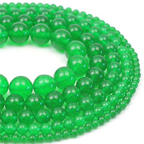 Oameusa 8mm Natural Green Chalcedony Round Smooth Beads Gemstone Beads Loose Beads Agate Beads for Jewelry Making 15