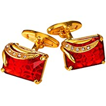 Ruby Shiny Crystal Cufflinks Elegant Style Women Men Fancy Stone Cuff Links