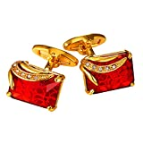 U7 Ruby Shiny Crystal Cufflinks Elegant Style Women Men 18K Gold Plated Fancy Stone Cuff Links