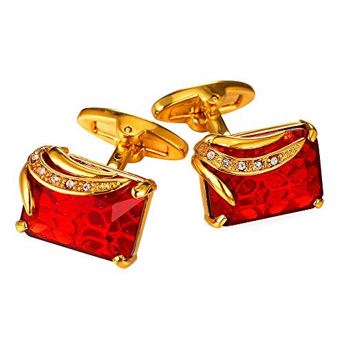 Ruby Shiny Crystal Cufflinks Elegant Style Women Men 18K Gold Plated Fancy Stone Cuff (Cuff Gold Plated Cufflinks)