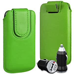 N4U Online Premium PU tirón del cuero del tirón del caso Tab cubierta de bolsa Con magnética Cierre de correa y cargador del coche del USB para la galaxia fresca S7390 - verde
