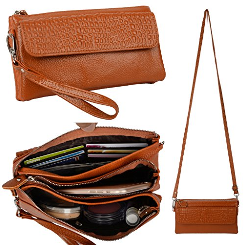 YALUXE Womens Large Capacity Leather Smartphone Wristlet Clutch with Shoulder Strap